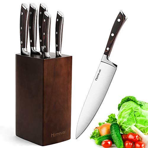 Homever profil Messerblock Messer Set, 6-TLG, Edelstahl Kochmesser Set mit Holzblock, Hochwertig und Extra Scharf, Braun