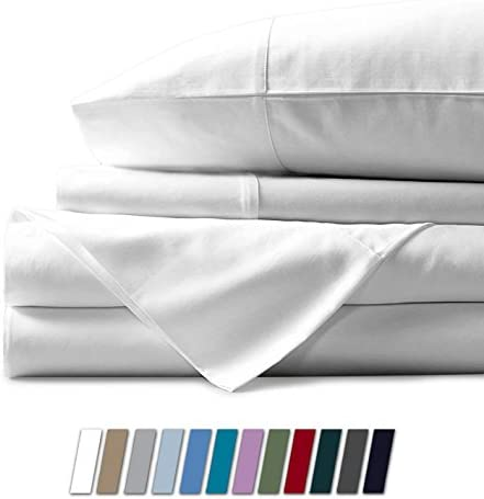 """1000 Thread Count Best Bed Sheets 100% Egyptian Cotton Sheets Set – White Long-Staple Cotton California King Sheet for Bed, Fits Mattress Upto 18"""" Deep Pocket, Soft & Silky Sateen Weave Sheets"""