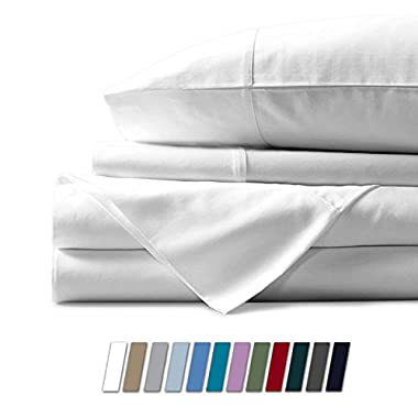 Mayfair Linen 100% Egyptian Cotton Sheets, White Full Sheets Set, 800 Thread Count Long Staple Cotton, Sateen Weave for Soft and Silky Feel, Fits Mattress Upto 18'' DEEP Pocket