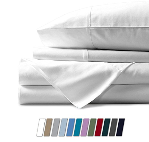 Mayfair Linen 600 Thread Count 100% Cotton Sheets - White Long-Staple Cotton Twin Sheets, Fits Mattress Upto 18'' Deep Pocket, Sateen Weave, Soft Cotton Bed Sheets and Pillowcases