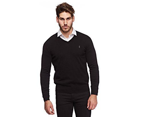 Polo Ralph Lauren Mens Pima Cotton V-Neck Sweater (Large, Black)