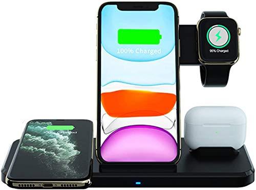 OH Dock de Cargador Inalámbrico para Iwatch 6, Se, 5,4,3, Iphone 11,11 Pro, 11 Pro Max, Xs, Xr, X, 8,8Plus, Pads de Air, Air Pods Pro, Samsung S20, S10, N 20 10 Carga directa inalám