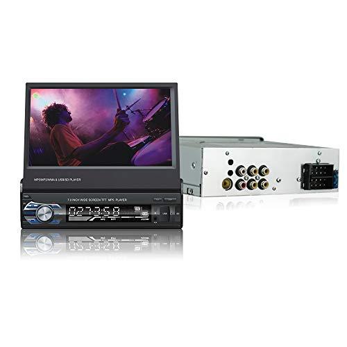 LEXXSON Indash 1 DIN Radio 7 Pulgadas Deslizamiento hacia Abajo Pantalla abatible Estéreo para automóvil FM Bluetooth MP3 MP4 Reproductor Multimedia con Puerto USB/SD Control Remoto multifunción