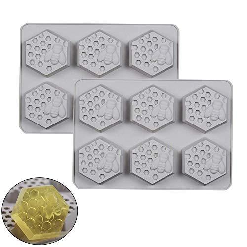 2pcs 6 Loch Biene Und Waben Muster Seife Silikon Formen, Silikonform Handgemachte Seifenformen Silikon Seifenform für Seife DIY Formen für Backen,Kuchen,Schokolade