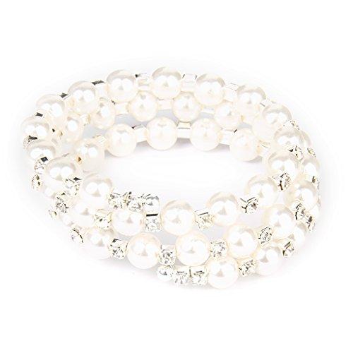 Armbänder Fashion Hochzeit Braut Klar Künstliche Perle 3 Reihen Strass Stretch elastischen Armreif
