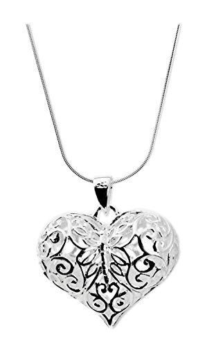 TreasureBay impresionante para mujer Plata Corazón Colgante Collar con cadena de plata