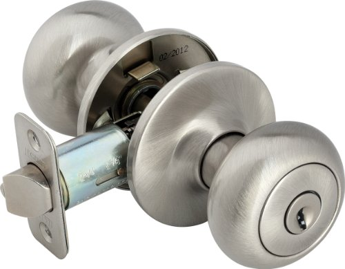 Legend 809130 Biscuit Style Front Door Knob Entry Lockset, US15 Satin Nickel Finish