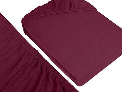 npluseins klassisches Jersey Spannbetttuch – erhältlich in 34 modernen Farben und 6 verschiedenen Größen – 100% Baumwolle, 70 x 140 cm, pflaume - 3