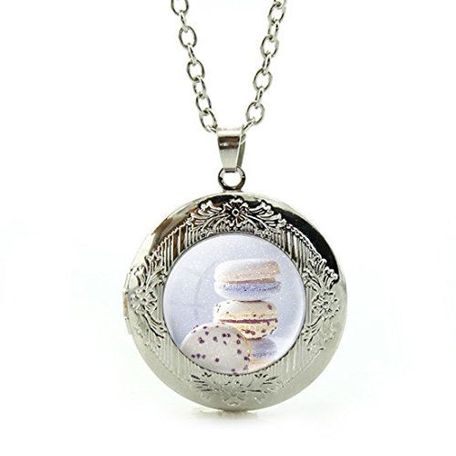 Women's Custom Locket Closure Pendant Necklace Snow Sweet Cupcake Macaron Included Free Silver Chain, Best Gift Set