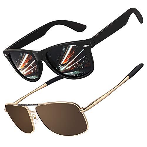 CGID Sonnenbrille Herren Polarisiert 55MM Rechteckige Pilotenbrille Ultraleichte Quadratische Sonnenbrille 2er Pack