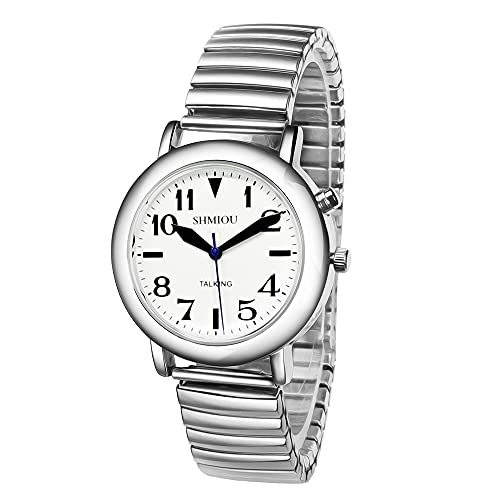 Reloj parlante francés unisex de cuarzo con correa extensible de acero inoxidable (Silver)