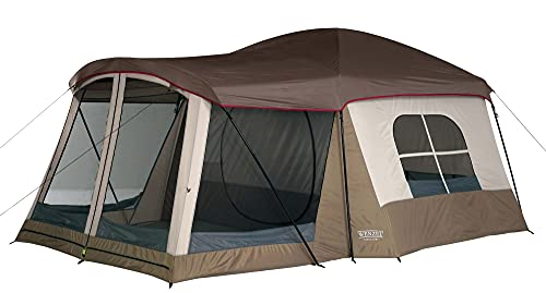 Wenzel Klondike 8 Person Water Resistant Tent with Convertible Screen Room for Family Camping