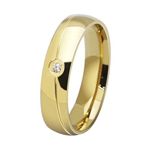 HIJONES Estilo Simple Sarga Diamante Anillo de Bodas para Parejas Talla 26 (Oro)