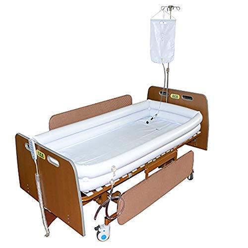 YLYP Bañera Inflable Médica para Adultos De PVC, Baño En La Cama, Ayuda Asistida, para Heridos, Discapacitados, Ancianos, con Inflador + Bolsa De Ducha + Almohada Inflable