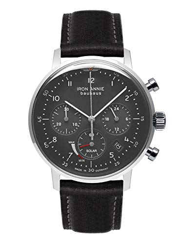 Iron Annie Solar Herrenuhr Chronograph Bauhaus Lederband Schwarz 5086-2