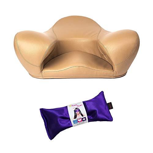 Alexia Meditation Seat (Genuine Leather, Latte Brown) Includes Yoga Eye Pillow Bundle (2 Items)