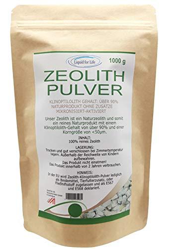 LIQUID FOR LIFE ® - Zeolith Klinoptilolith Pulver - tribomechanisch mikronisiert & aktiviert fein gemahlen in Premium Qualität, ohne Zusätze, naturbelassenes reines Vulkangestein 1000g