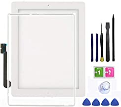 Ipad 3 Touch Screen Replacement,FeiyueTech New White Digitize Screen Front Glass Assembly - Includes Home Button + Camera Holder +Frame Bezel+ PreInstalled Adhesive with Tools kit.