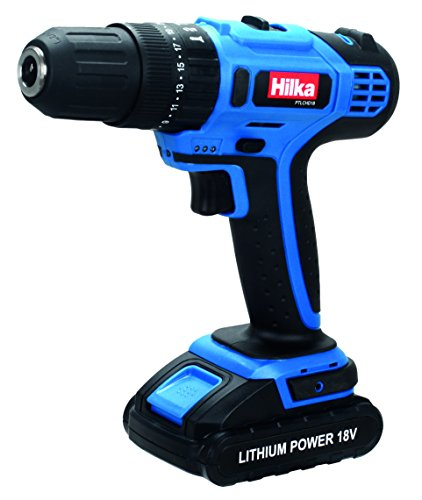 Hilka Tools PTLCHD18 Li-Ion Cordless Hammer Drill, 18 V, Black/Blue