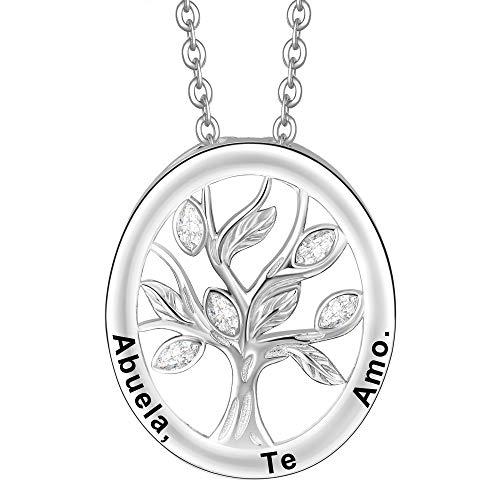 ENGSWA Collar Mujer Plata de Ley 925 Colgante Árbol de la Vida Familiar Grabado Regalo para Abuela