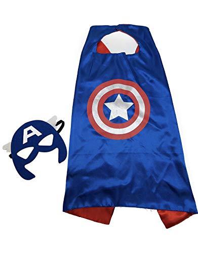 Maribus-FL Superhero Capes and Masks for Kids - Satin Capes and Felt Masks for Boys and Girls (Captain)