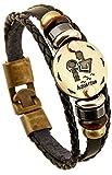 FLDC Multi-Layer 12 Constellation Zodiac Sign Braided Charm Bracelet Wrist Wrap Cuff Bangle Jewelry For Women Men A Aquarius 20