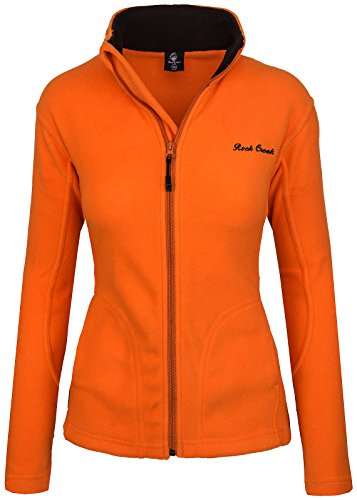 Rock Creek Damen Fleecejacke Fleece Jacke Übergangs Jacke Sweatjacke D-389 [Orange XS]
