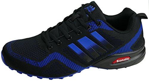 gibra® Herren Sneaker Sportschuhe, Art. 7737, sehr leicht und bequem, schwarz/blau, Gr. 43