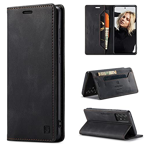 CaseNN Funda para Samsung Galaxy A52 5G/4G Carcasa con Tarjetero Fundas Tapa Libro de Cuero PU para Mujeres Hombres Premium Magnético Suporte con Bloqueo RFID Silicona Proteccion Delgado Negro