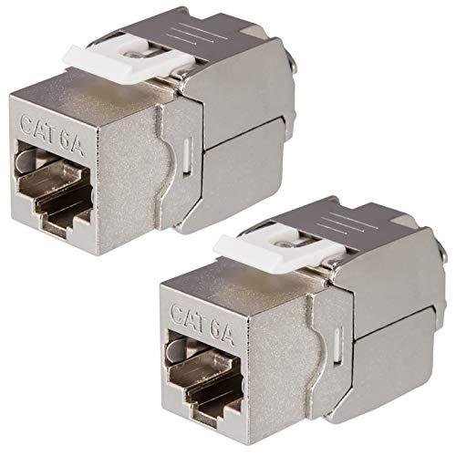 2X HB-DIGITAL Cat.6a Keystone RJ-45 Buchse frontal Modul bis zu 500 MHz 10Gbit/s vollgeschirmt werkzeuglos Cat6a cat6 STP Kupplung Netzwerk Einbaubuchse für Patchpanel Verlegekabel Ethernet LAN
