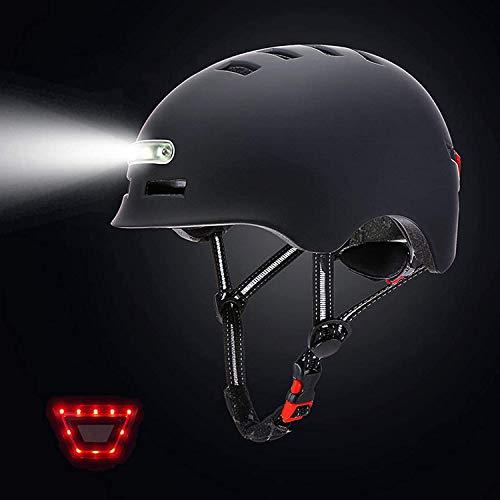 Premewish Fahrradhelm Sporthelm Mountainbike Helm mit LED-Licht Leichter Fahrradhelm für Männer und Frauen zum Radfahren,Roller und Skatebord (Schwarz, M)