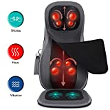 Naipo Shiatsu Neck Back Massager with Heat, Adjustable Full Back Kneading Shiatsu or Rolling Massage Chair Massage Chair Pad for Neck Back Hip, Relieve Muscle Pain for Back Shoulder