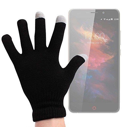 DURAGADGET Guantes Negros para Pantalla Táctil para Smartphone UMI MAX | Touch | Super | Motorola Moto X Play | ZTE Axon Mini | Blackberry Priv - ¡Ideales para El Invierno! - Talla Mediana