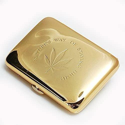 JYDT Estuche para cigarrillos genuino, ultrafino, creativo, de metal, 16 palos, hoja de arce dorado, para fumar, para hombre, color plateado