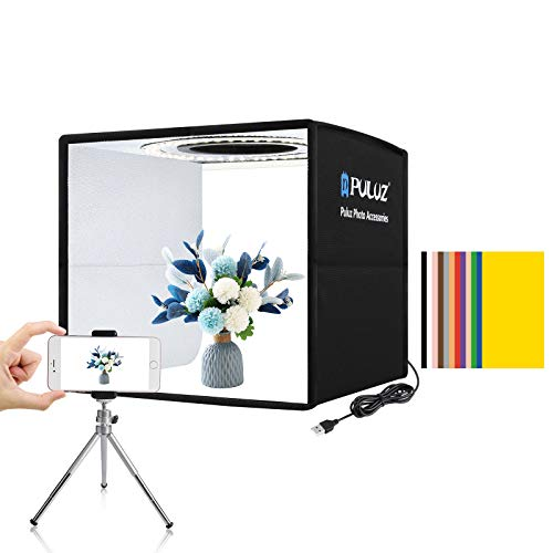 PULUZ Mini Photo Studio Light Box, Photo Shooting Tent kit, Portable Folding Photography Light Tent kit with CRI 95 96pcs LED Light + 6 Kinds Double- Sided Color Backgrounds for Small Size Products