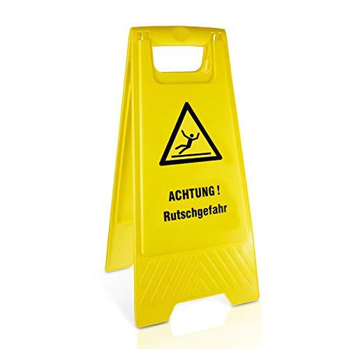Betriebsausstattung24® Warnaufsteller Achtung! Rutschgefahr | Kunststoff | Gelb | Höhe 61 cm | zusammenklappbar | Viele Verschiedene Motive