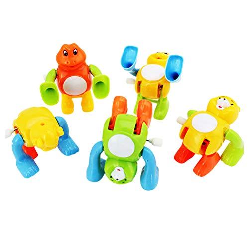 5 stücke Kinder Uhrwerk Wind Up Turn Salto Tier Spielzeug Lustige Cartoon Pädagogisches Tier Spielzeug Party Favors Spielzeug Großes Geschenk (gelegentliche Farbe und Stil)
