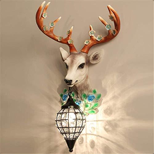 Lámparas de pared industriales, Luz de pared interior Rústico Vintage Decoración de la casa de la resina Lámpara de pared de la cabeza de los ciervos con la lámpara de la pared de la cabeza de hierro