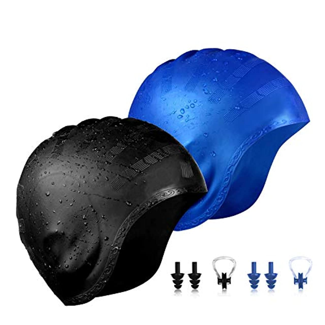 QXQY Swimming Cap for Long Hair,Silicone Swim Cap Cover Ears for Women Men with Nose Clip and Ear Plugs