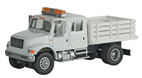 Walthers HO Scale International 4900 Open Stake Bed Truck White Railroad MOW