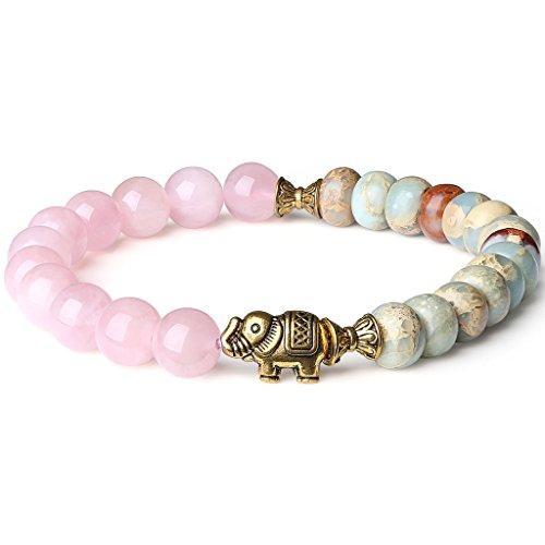 coai Damen Armband aus Rosenquarz Shoushan Stein Elefant Charm