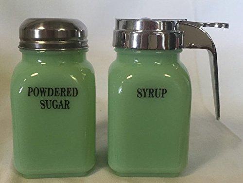 Breakfast Set - Syrup and Powdered Sugar - Jade Jadeite Jadite Green Glass - Mosser - American Made (Block)