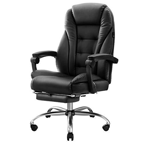 Hbada Bürostuhl Chefsessel Drehstuhl Schreibtischstuhl ergonomischer Computerstuhl Kunstleder mit Fußstütze Schwarz