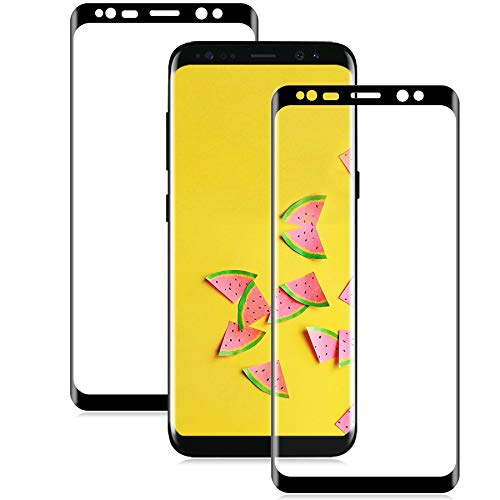 WANYBO S8 Screen Protector (2 Pack), S8 Tempered Glass, 9H Hardness/Bubble Free/3D Curved/Case Friendly/Easy Installation Tempered Glass Screen Protector For Samsung Galaxy S8