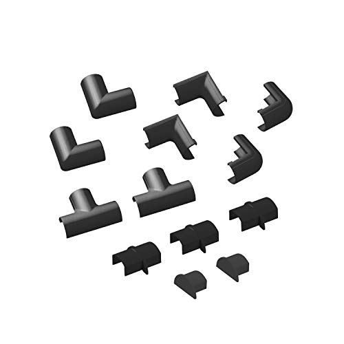 D-Line Micro+ Kabelkanal Clip-Over Verbindungsstücke Multipack | Aufsteckbare Verbindungsstücke | Verbinden Sie mehrere 20x10mm Kabelkanäle CLOAP2010B | 13-teiliges Kabelkanal Zubehör Set - Schwarz