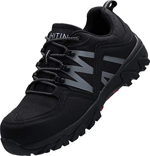 WHITIN Sicherheit Schuhe Herren Arbeitsschuhe mit Stahlkappe Leichte Atmungsaktiv Sicherheitsschuhe Schutzschuhe arbeits Schuhe s2 Schwarze Größe 47 EU