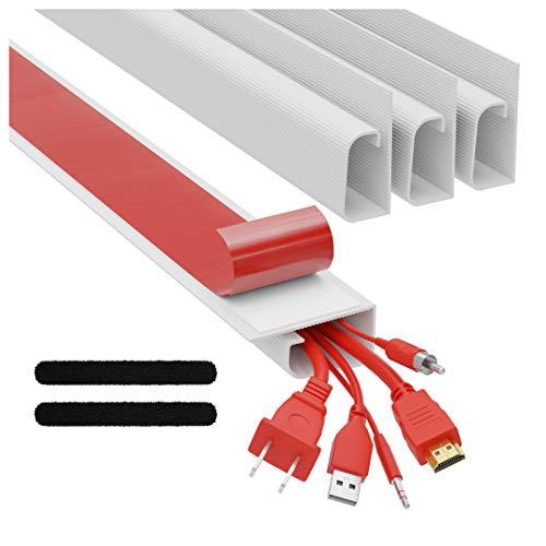 Kit Cable Canal J – Sistema Organizador de Cables de Computadora de Escritorio – 4x 41cm (Negro) Bandejas para Debajo del Escritorio, Organizadoras de Cables, para la Oficina y el Hogar