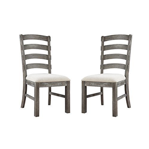 Emerald Home Paladin Rustic Charcoal Gray Dining Chair with Upholstered Seat And Ladder Back, Set of Two