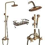 FYMIJJ Set de ducha,Juego de grifos de ducha de latón antiguo, 8 '', ducha de lluvia, estante para productos básicos, grifo mezclador de doble manija, bañera giratoria, caño, ducha de baño,