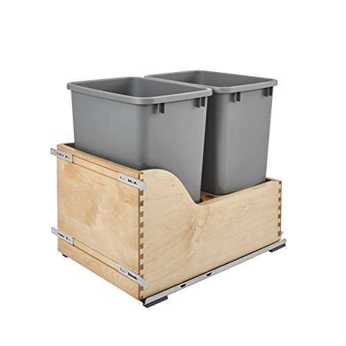 Rev-A-Shelf 4WCSC-1835DM-2 Double 35-Quart Maple Bottom Mount Kitchen Pullout Waste Container Trash Can with Blumotion Soft-Close Slides, Silver